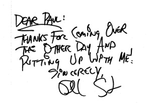 The handwritten note